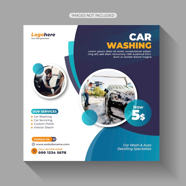 Myjnia Samochodowa W Mediach Społecznościowych Premium Wektorów