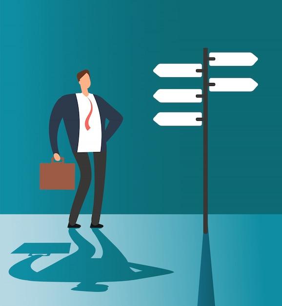 Mylić biznesmen myślenia i dokonywania wyboru na znak drogowy. okazja biznesowa i przyszłe rozwiązanie wektor koncepcja Premium Wektorów