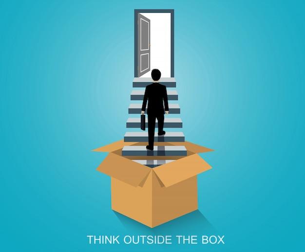 Myśl Nieszablonowo, Biznesmen Z Pudełka Wchodzi Po Schodach Do Drzwi Premium Wektorów