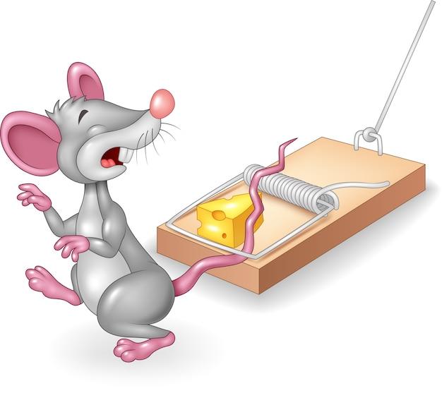 Mysz Kreskówki Smutna Wystawiona Na Wolny Ser W Pułapce Na Myszy Premium Wektorów