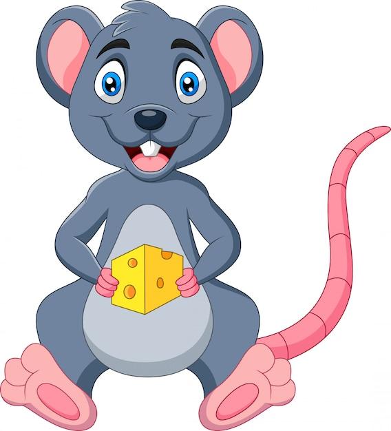 Mysz Kreskówki Trzymając Kawałek Sera Premium Wektorów