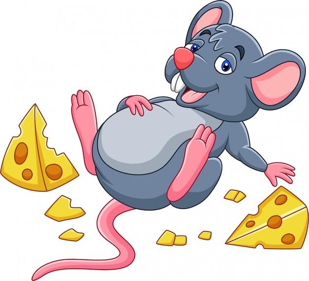 Mysz kreskówki z serem i pełnym brzuszkiem Premium Wektorów