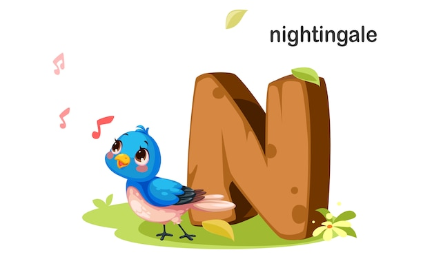N jak nightingale Premium Wektorów