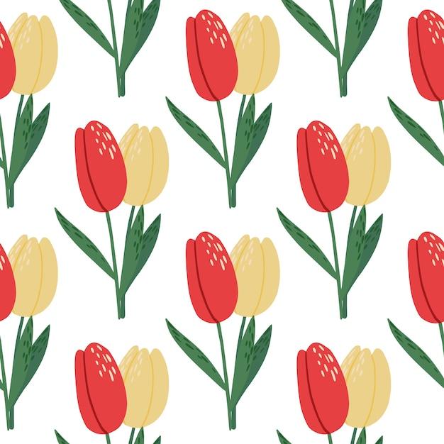 Na Białym Tle Jasny Wiosna Tulipan Bezszwowe Wzór. Kwiatowe Sylwetki Z Czerwonymi I żółtymi Pąkami Na Białym Tle. Premium Wektorów