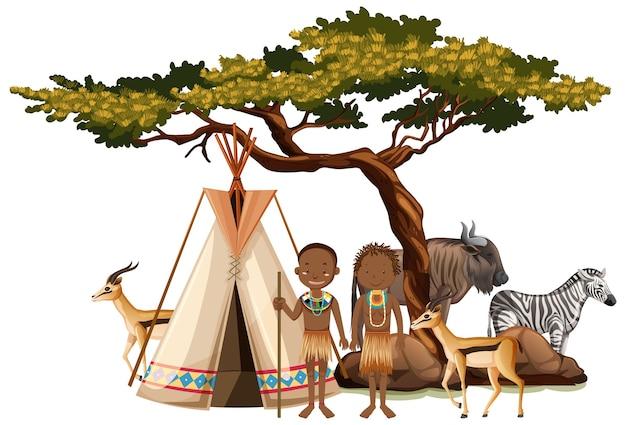 Na Białym Tle Ludność Etniczna Plemion Afrykańskich W Tradycyjnej Odzieży Darmowych Wektorów