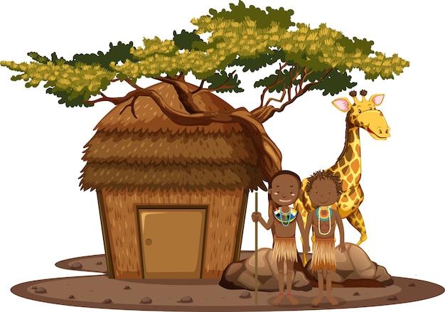 Na Białym Tle Ludność Etniczna Plemion Afrykańskich Darmowych Wektorów