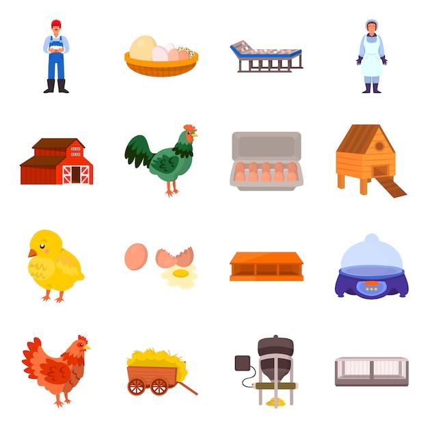 Na Białym Tle Obiekt Ikona Gospodarstwa I Drobiu. Zestaw Symbol Zapasów Gospodarstwa I Rolnictwa Dla Sieci Web. Premium Wektorów