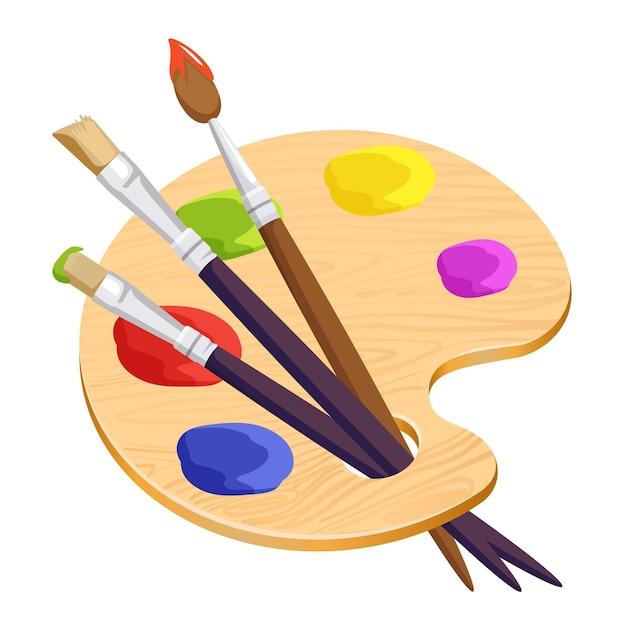 Na Białym Tle Paleta Artysty Z Trzech Długich Różnych Pędzli Wewnątrz Na Białym Tle. Ilustracja Kreskówka Drewniana Rzecz Z Kolorowymi Okrągłymi Plamami Farb. Zestaw Do Tworzenia Zdjęć I Portretów Premium Wektorów