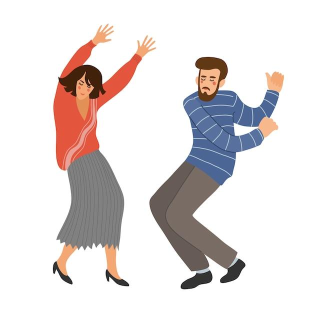 Na białym tle para tańca. ludzie w tańcu. śliczna wektorowa ręka remisu ilustracja Premium Wektorów