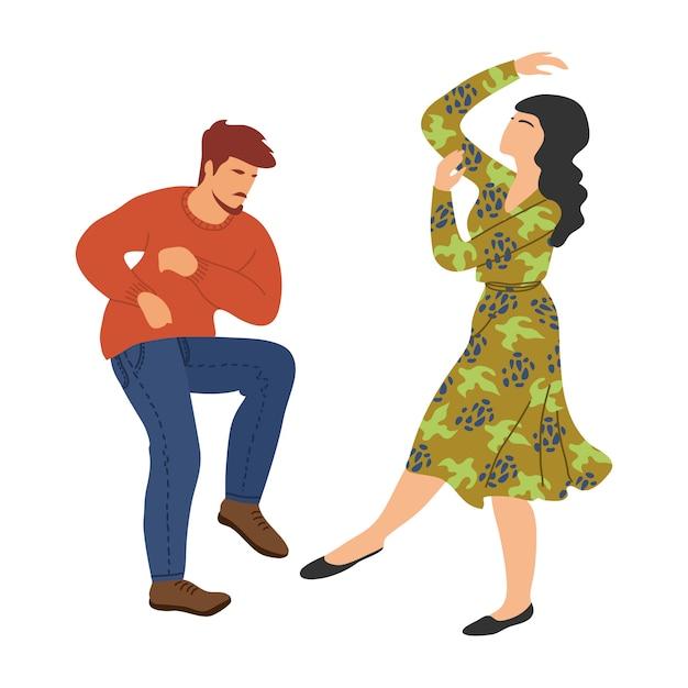 Na białym tle tańczących ludzi. para w tańcu. śliczna wektorowa ręka remisu ilustracja Premium Wektorów