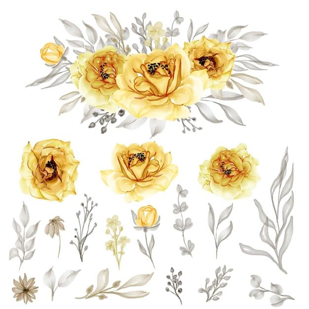 Na Białym Tle Złoty żółty Kwiat Róży Liście Na ślub Premium Wektorów