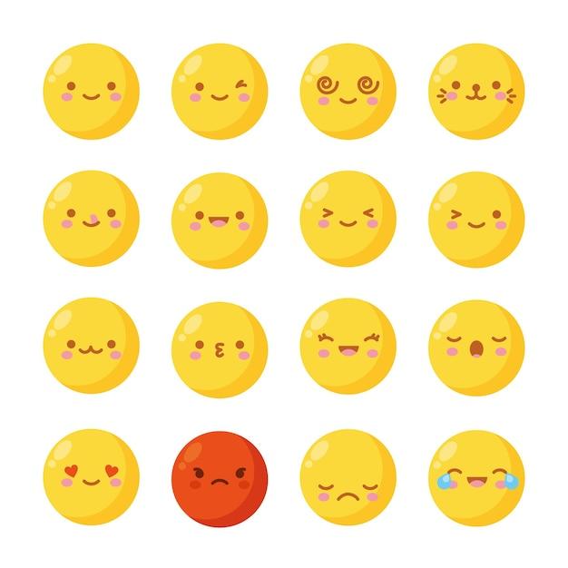 Na Białym Tle żółte Emoji Z Różnymi Uczuciami. Ilustracja Premium Wektorów