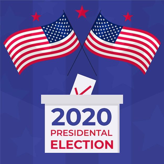 Na Ilustracji Flagi Usa I Pole Do Głosowania Premium Wektorów