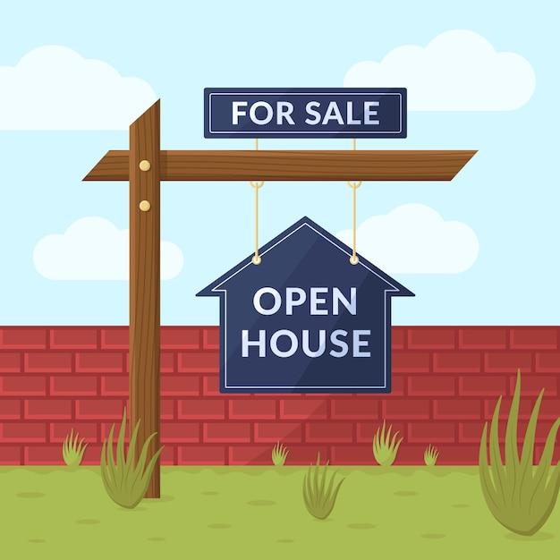 Na Sprzedaż Koncepcja Otwartego Domu Darmowych Wektorów