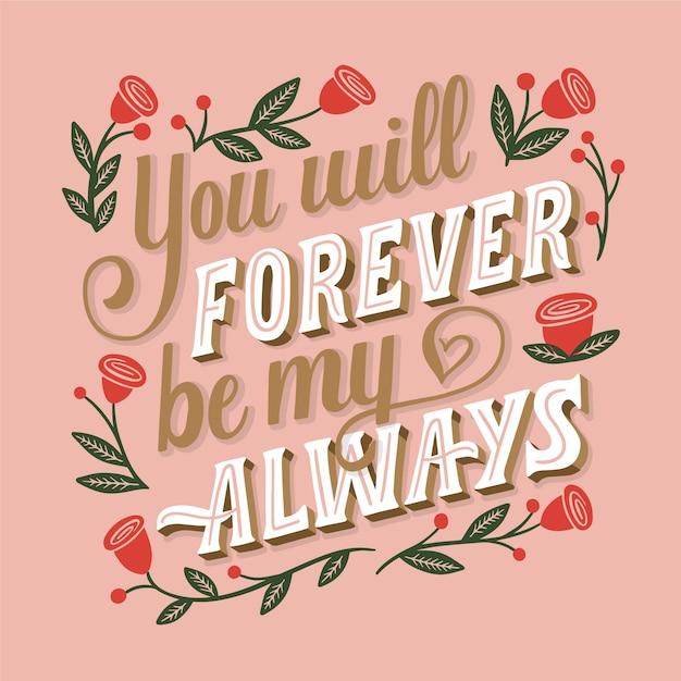 Na Zawsze Pozostaniesz Moim Zawsze ślubnym Napisem Darmowych Wektorów