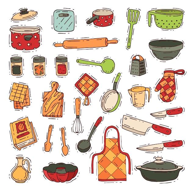 Naczynia kuchenne do gotowania i przybory kuchenne lub sztućce do zastawy kuchennej w zestawie kuchennym Premium Wektorów