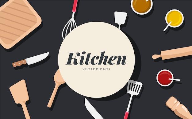 Naczynia kuchenne i składniki wektor zestaw Darmowych Wektorów