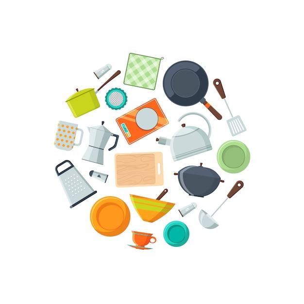 Naczynia kuchenne płaskie ikony Premium Wektorów