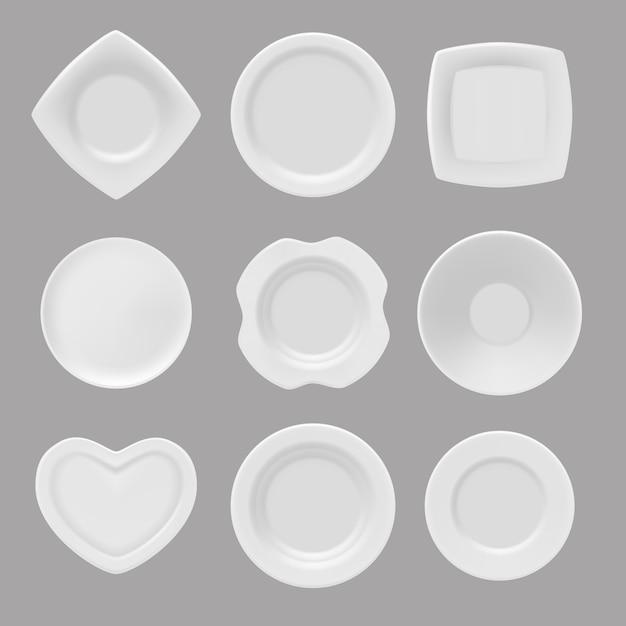 Naczynia, realistyczne z różnych talerzy Premium Wektorów