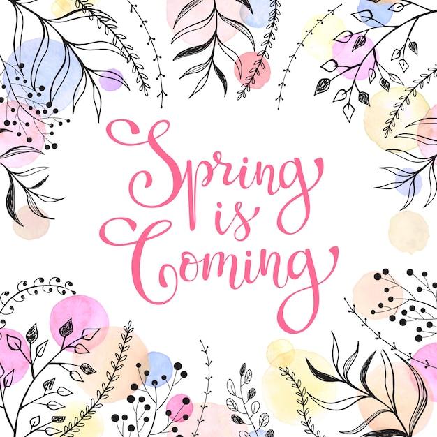 Nadchodzi Wiosna. Wiosenne Sformułowania Z Kwiatowymi Elementami I Akwarelowymi Plamami Na Białym Premium Wektorów