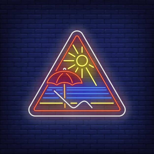Nadmorski kurort neonowy znak Darmowych Wektorów