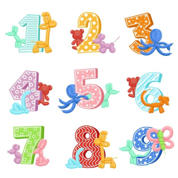 Nadmuchiwane zwierzęta z numerami urodzinowymi Premium Wektorów