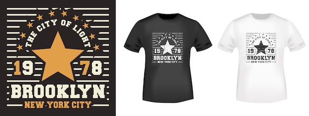 Nadruk koszulki brooklyn star Premium Wektorów