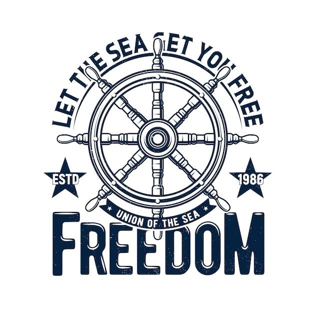 Nadruk Na Koszulce Z Kierownicą Statku, Emblemat Rejsu Morskiego Regat I Hełm W Kolorze Niebieskim Grunge Premium Wektorów
