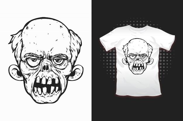 Nadruk Zombie Dla Projektu Koszulki Premium Wektorów