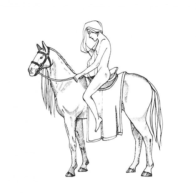 Nagie Kobiety Na Koniu. Lady Godiva. Ilustracja Konturowa. Premium Wektorów