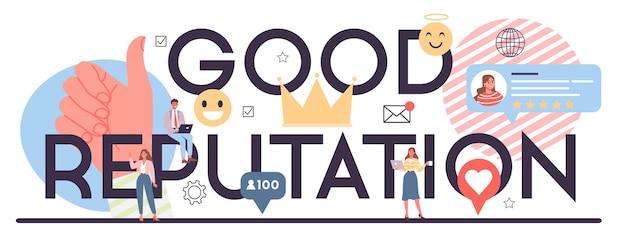Nagłówek Typograficzny O Dobrej Reputacji Premium Wektorów
