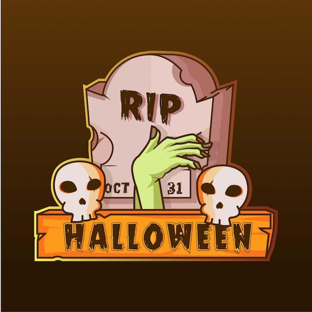 Nagrobek i ręka zombie czaszki halloween logo ilustracja Premium Wektorów