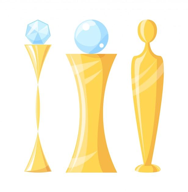 Nagroda i trofeum z kryształową ilustracją Premium Wektorów