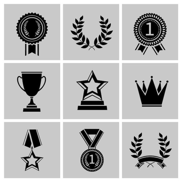 Nagroda ikony czarny zestaw koronę wieniec laurowy wieniec na białym tle ilustracji wektorowych Premium Wektorów