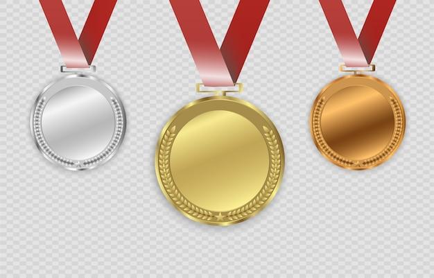 Nagroda Medale Na Przezroczystym Tle. Ilustracja Koncepcji Zwycięzcy. Premium Wektorów