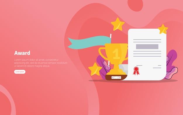 Nagroda school concept edukacyjny illustration banner Premium Wektorów