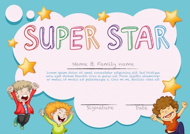 Nagroda Super Star Szablon Z Dziećmi W Tle Darmowych Wektorów