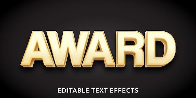 Nagroda Tekst 3d Style Edytowalny Efekt Tekstowy Premium Wektorów
