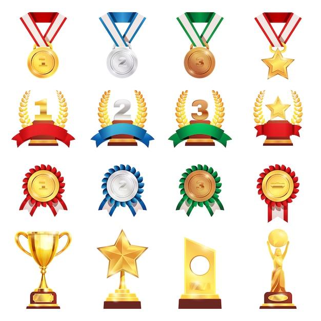 Nagroda Trofeum Medal Realistyczny Zestaw Darmowych Wektorów