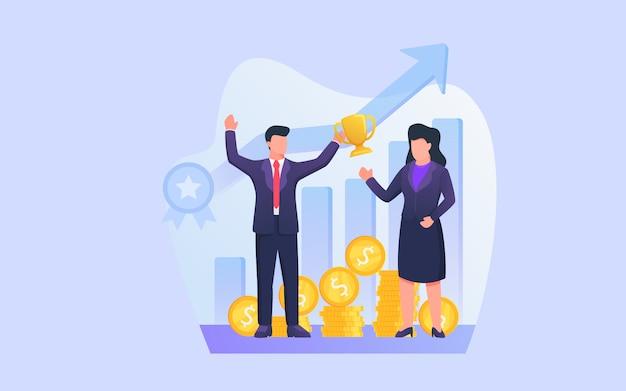 Nagroda Za Sukces Biznesowy Z Mężczyzną Otrzymuje Nagrodę Od Zespołu Za Sukces Finansowy Premium Wektorów