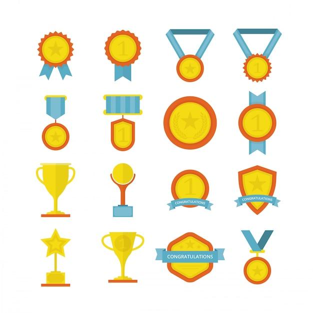 Nagrody w zakresie osiągnięcia płaskiego Premium Wektorów