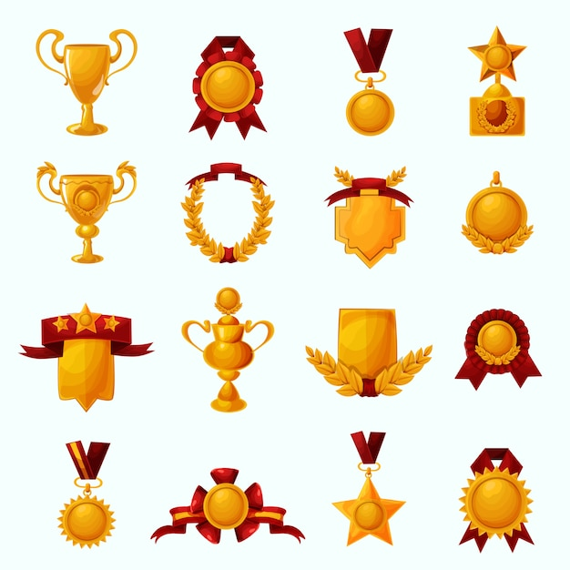 Nagrody zestaw kreskówek Darmowych Wektorów