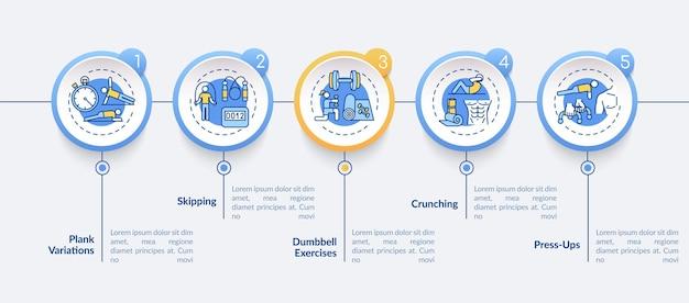 Najlepiej W Domu ćwiczyć Wektor Infografikę Szablon. Wizualizacja Danych W 5 Krokach. Premium Wektorów