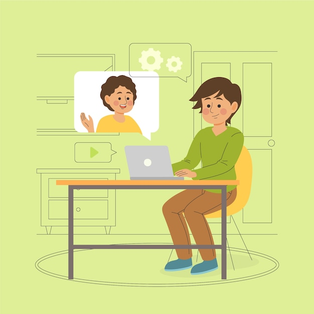 Najlepsi Przyjaciele Rozmawiają Ze Sobą Przez Komputery Darmowych Wektorów