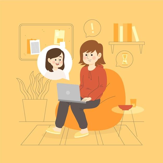 Najlepsi Przyjaciele Rozmawiają Ze Sobą Za Pośrednictwem Laptopów Darmowych Wektorów
