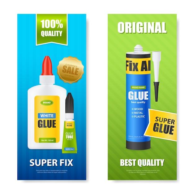 Najlepsza Jakość Napraw Wszystkie Butelki Z Klejem Tuby Kije Kolorowe Realistyczne Pionowe Banery Zestaw Izolowanych Ilustracji Darmowych Wektorów