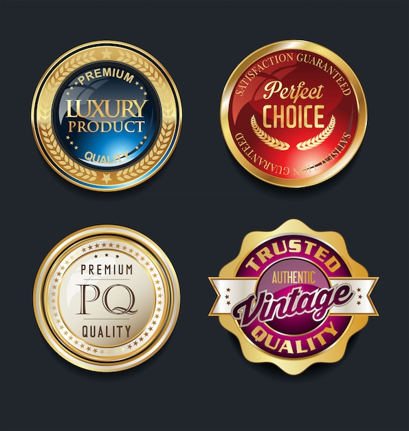 Najlepsza jakość super sprzedaż złote retro vintage etykiety Premium Wektorów