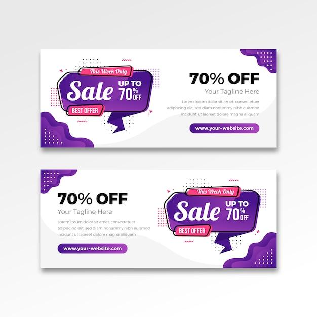Najlepsza Sprzedaż Transparent W Płaski Kształt Gradientu Premium Wektorów