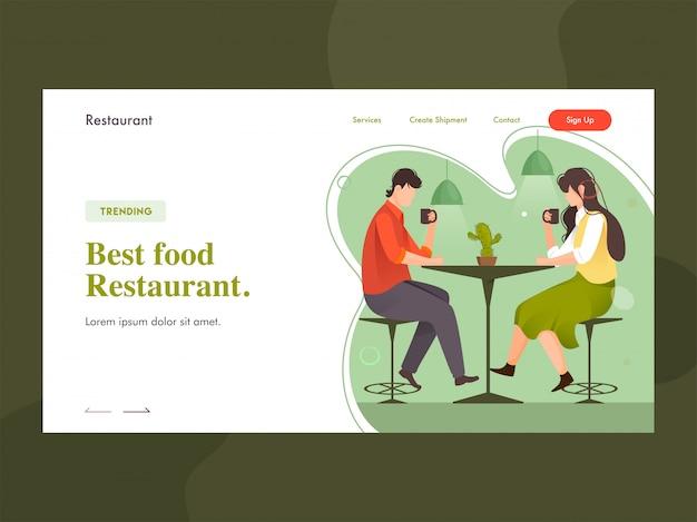 Najlepsza strona docelowa restauracji z młodym chłopcem i dziewczynką pijącą kawę przy stoliku w restauracji. Premium Wektorów