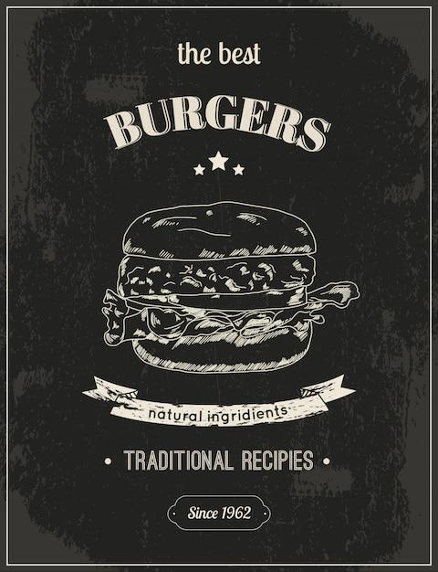 Najlepsze Hamburgery, Plakat Hamburger Gotowy Do Druku Premium Wektorów